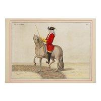 Pair Antique Dressage Engravings Horses after Baron D'Eisenberg / Bernard Picart