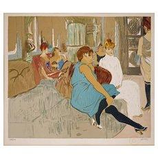 d'apres Toulouse Lautrec lithograph Au Salon de la Rue des Moulins limited edition framed - 20th Century, France
