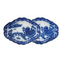 Pair English Georgian Pearlware Blue White Transferware Long Bridge Pattern Lozenge Shaped Dessert Dishes  - circa 1800, England