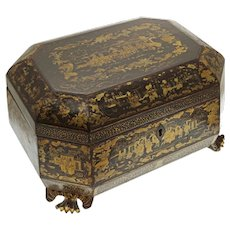 Early Chinese Export Black Gilt Tea Caddy and Containers Large with Containers - c. 1800's, China