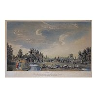 Paris Monceau Parc Engraving after Carmontelle and Couche Plate II Framed - c. 19th Century, France