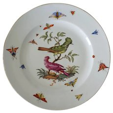 Antique Meissen Marcolini Ornithological Plate Dish Porcelain Hand Painted - from 1774-1814, German Kingdom of Saxony, Germany