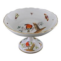 Antique Meissen Ornithological Compote Tazza Footed Bowl Porcelain Birds Insects - from 1815, German Kingdom of Saxony, Germany