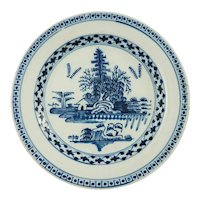 English Delft Plate Chinoiserie Landscape Blue White - 18th Century, England