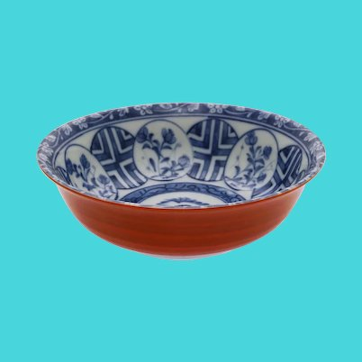 Blue And Copper-Red Porcelain Bowl Asian Porcelain