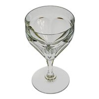 Baccarat Hexagonal Faceted Bowl Stem Wine Glass Crystal Circular Foot - 20th Century, France