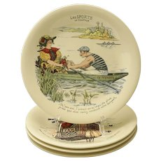 Set 4 LES SPORTS Boch Series La Louviere Faience Plates Humorous - 1910-1966 mark, Belgium