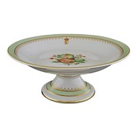 Botanical Armorial Compote Tazza Footed Bowl Porcelain - 20th Century, Portugal