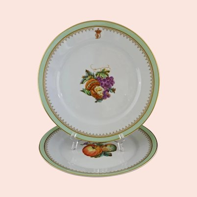Botanical Armorial Pair Plates Dishes Porcelain - 20th Century, Portugal