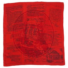 "1950's Brooke Cadwallader Vintage Silk 26"" Square Scarf Benjamin Franklin Red Black Pennsylvania"