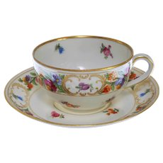 Old Dresden Schumann Bavaria Porcelain Tea Cup and Saucer - 1918 to 1929, Germany