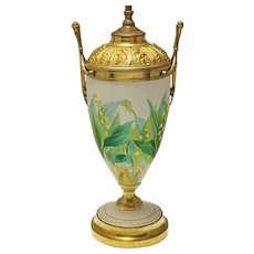 French Painted Opaline Glass Table Lamp Gilt Bronze Mount Muguet Lily of the Valley - 19th Century, France
