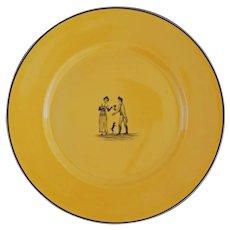 French Courting Couple Dog Porcelain Plate Au Vase Etrusque Luxury Paris Valentine's Gift - pre 1920's, France