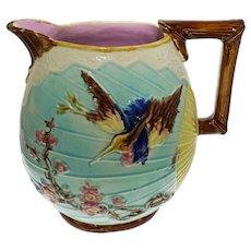 "Large 8 3/4"" H Wardle & Co. English Majolica Water Pitcher Bird Fan Antique - circa 1880's, England"
