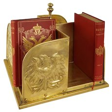 Arts & Crafts Style Hammered Brass Revolving Book Stand Eagles Bookcase Tabletop
