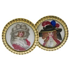 Pair Georgian  Enamel Brass Tiebacks / MIrror Supports Battersea or Bilston - late 18th / early 19th C., England