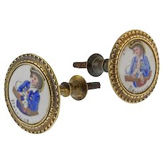 Pair Georgian Enamel Brass Tiebacks / MIrror Supports Battersea or Bilston inscribed BELVILLE - late 18th / early 19th C., England