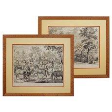 Pair 18th C engravings William Cavendish Les Haras / Les Poulins after Diepenbeke Duke of New Castle