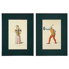 Pair Medieval Costume Engravings Ghaetta Rare Musical Instrument and Military A. Levy Fils - 19th Century, France