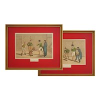 Pair Cock Fighting Lithographs Sports Great Britain after Alken - 19th Century, England