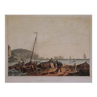 Etching The Needles, Isle of Wight after de Loutherbourg Romantic Picturesque Scenery Matted Framed Antique - 19th Century, England