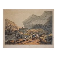 Etching Wales Melen Y Nant, near Snowdon after de Loutherbourg Romantic Picturesque Scenery Landscape  Matted Framed Antique - 19th Century, England