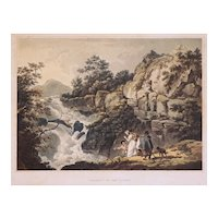 Etching Wales Cataract on the Llugwy after de Loutherbourg Romantic Picturesque Scenery Matted Framed Antique - 19th Century, England