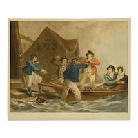 Antique Maritime Naval Nautical Mezzotint Navy Recruitment Ward after Morland The Waterman's Reluctance on Going to War - circa 1790, England