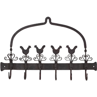 Riveted Wrought Iron Kitchen Utensil Wall Rack Hens Folk Americana