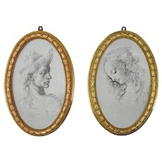 """Pair Oval Bronze Large 10""""x6"""" Photo Frames Neoclassical Empire Style Laurel Leaves Ribbons"""