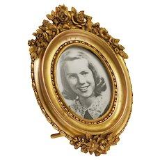 Gilt Bronze Ormolu Oval Photo Frame Easel Stand Floral Garland Roses