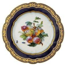 Sèvres Porcelain Botanical Plate Fruit Insects Cobalt - 1877, France