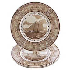 """Set 4 Wedgwood """"The American Clipper Ship"""" Series Brown Transfer-Printed Plates - 1940-1974 mark, England"""