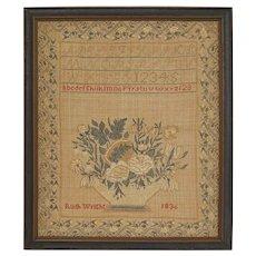 Antique Needlework Presentation Sampler Alphabet Quaker Delaware Valley Ruth Wright - 1836, USA