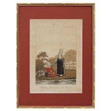 Antique French Costume Engraving Little Girls Children Gatine Pecheux Lante Matted Framed  - 19th C., France