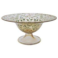 Running Gazelles Persian / Arabian Market Enameled Jeweled Glass Footed Bowl - c. 19th C., Europe