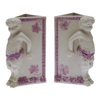 Pair Young Faun Figural Porcelain Vases Triangular Puce White Grapes Vines Half Goat