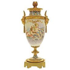 Sevres Style Champleve Bronze Mounted Ormolu Table Lamp Signed Boudinot - circa 19th C., France
