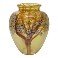 Iridescent Gold Art Glass Vase Orient & Flume Hawthorne Tree Blossoms - circa 20th C., USA