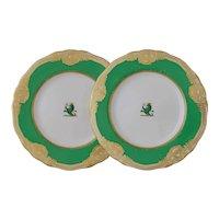 Kerr & Binns Worcester Pair Lion Armorial Plates Green Gilt Porcelain - c. 1852-62, England