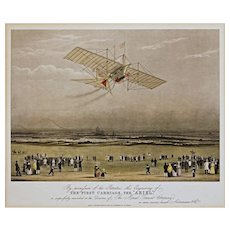 Pair Flying Machine & Horseless Carriage Framed Vintage Prints