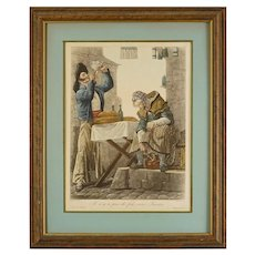 French Satirical Lithograph Print after Vernet Costume Framed - 20th Century, France