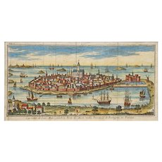 18th C. Engraving Port City of San Malo Brittany France Salmon Moll -  1740–61, Venice