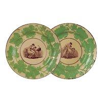 Pair Georgian Adam Buck Drabware Bat Printed Molded Dessert Plates Mother Child - circa 1815, England