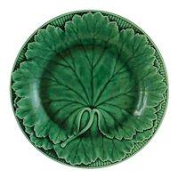 Antique Wedgwood Majolica Green Leaf Plate Basket Weave Border Arts Crafts - pre 1890, England