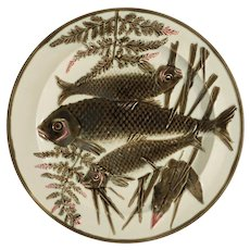 Antique Wedgwood Majolica Fishes Plate Argenta Ocean - pre 1898, England