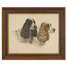 Leon Danchin Spaniels Etching Pencil Signed Framed - 20th Century, France
