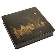 Japanese Lacquer Square Box with Lid Box Warriors Horses Moon Lit Night - Meiji, Japan