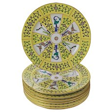 Set 8 Herend Siang Jaune Dynasty Yellow Porcelain Large Plates 2527 SJ - 20th Century, Hungary