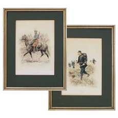 Pair French Military Uniforms Lithographs after Edouard Detaille Matted Framed - inscribed 1885 / 1886, France